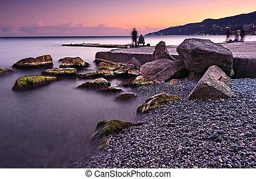 Beautiful sunset landscape in Crimea. Black sea