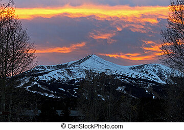 Beautiful sunset landscape in the mountains.