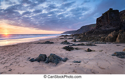 Beautiful sunset on a deserted beach