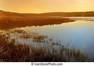 beautiful sunset on a lake
