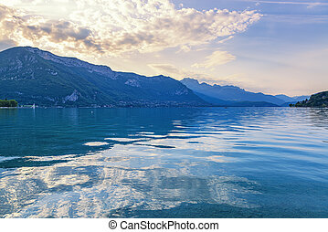 Beautiful sunset on Annecy lake, France.