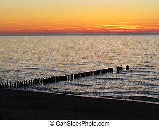 Beautiful Sunset on Beach Seaside with Seagull