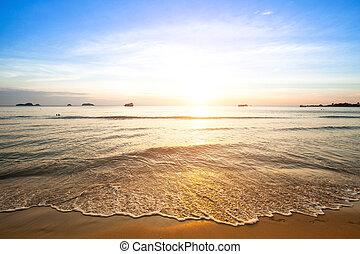 Beautiful sunset on coast of Siam Gulf.