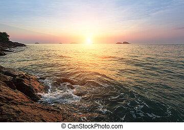 Beautiful sunset on coastal cliffs