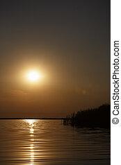 beautiful sunset on Danube Delta