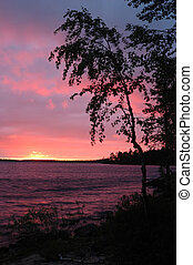 Beautiful sunset on Karelia Engozero lake, Nothern Russia