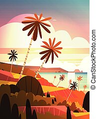 Beautiful Sunset On Ocean, Tropical Landscape Summer Seaside Beach With Palm Tree