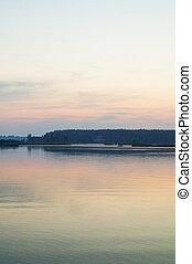 Beautiful sunset on river