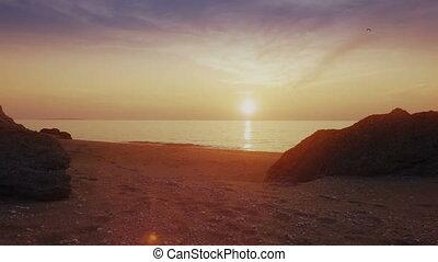 Beautiful sunset on Sea of Azov. Coast of Crimea. -...