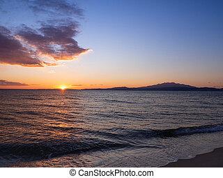 Beautiful sunset on the beaches of Kavala, Greece