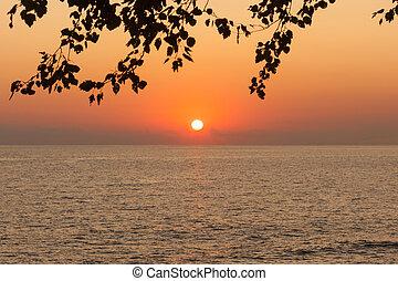 Beautiful sunset on the black sea in Sochi, Russia
