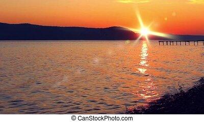 beautiful sunset on the lake