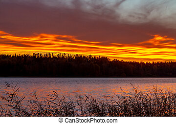 Beautiful sunset on the lake in the autumn evening - Image