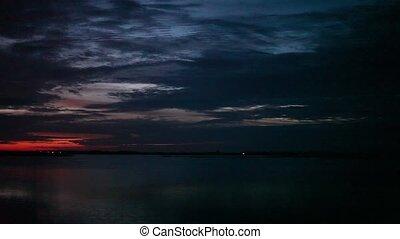 beautiful sunset on the lake, panorama