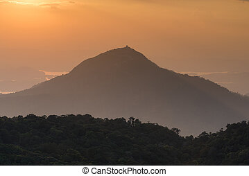 beautiful sunset on the mountain