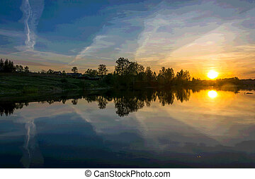 Beautiful sunset on the river Uvod in Ivanovo oblast, Russia.