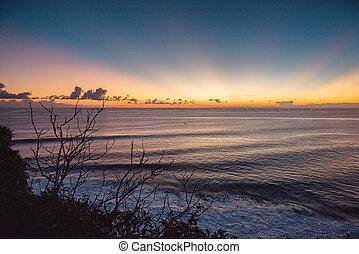 Beautiful sunset on the sea in Bali, Indonesia