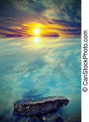 Beautiful  sunset on the sea. Vintage style