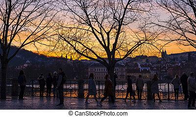 PRAGUE / CZECH REPUBLIC - MARCH 29, 2019: Beautiful sunset on the Vltava river