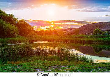 beautiful sunset on the Volga River Russia