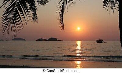 Beautiful sunset on tropical coast
