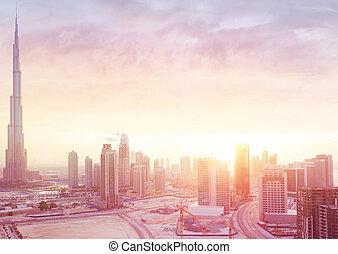 Beautiful sunset over Dubai city
