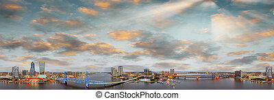 Beautiful sunset over Jacksonville, Florida. Aerial view