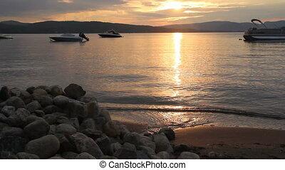 beautiful sunset over lake - beautiful sunset over lake...