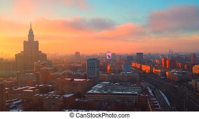 Beautiful sunset over Moscow. Leningradsky avenue. High altitude time lapse