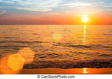Beautiful sunset over ocean, nature composition.