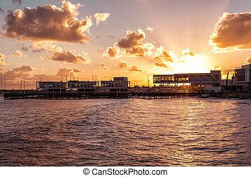 Beautiful sunset over over Limassol marina