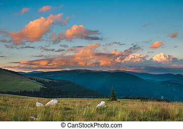 Beautiful sunset over Parang Mountains in Romania