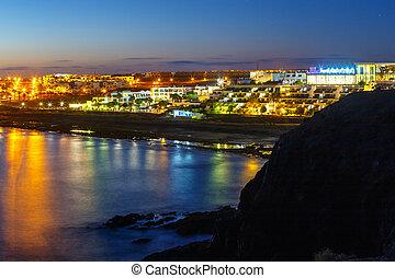 Beautiful sunset over Playa Blanca in Lanzarote