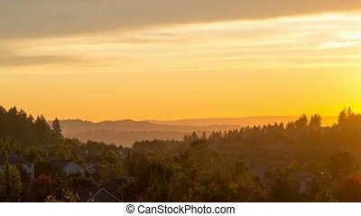 Beautiful sunset over residential homes in Happy Valley Oregon at dusk 4k uhd time lapse