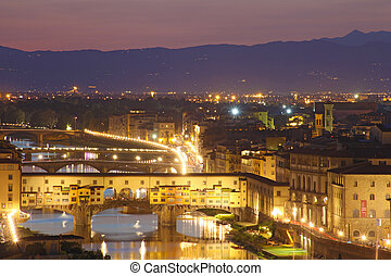 Beautiful sunset over river Arno in Florence, Italy