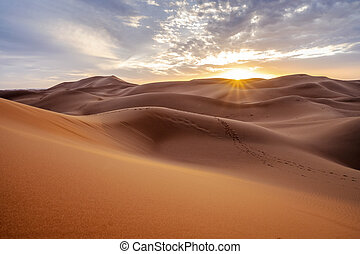 Beautiful sunset over sand dunes of Sahara Desert, Africa