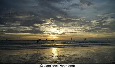 Beautiful sunset over sea. Boracay island Philippines.