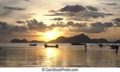 Beautiful sunset over sea.