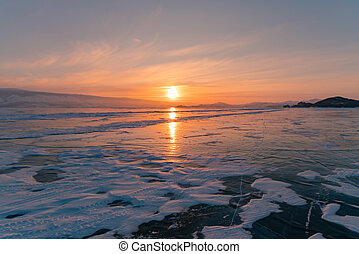 Beautiful sunset over Siberia Baikal Russia water lake