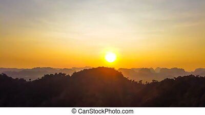Beautiful sunset over Thailand mountains - 4K timelapse and...