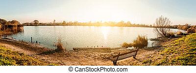 Beautiful sunset over the lake.