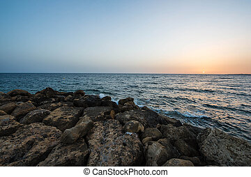 Beautiful sunset over the Mediterranean Sea, Cyprus