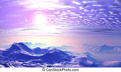 Beautiful Sunset over the Misty Mountains