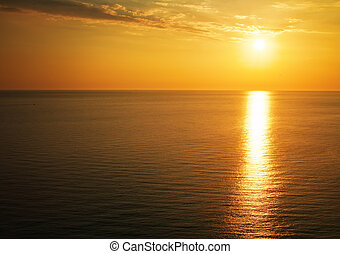Beautiful sunset over the ocean. Sunrise in the sea