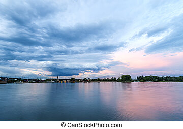 Beautiful sunset over the Rhein river in Mainz, Germany