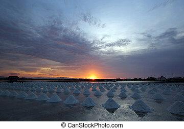 sunset over the salt farm