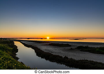 sunset over wetlands and marshlands with a colorful sky and a sun star on the horizon