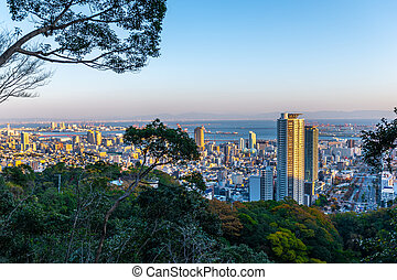 beautiful sunset panoramic aerial view of Kobe city, Japan