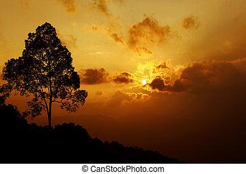 sunset scene in the mountain