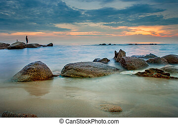 beautiful sunset sky at mae rumphung beach most popular traveling destination in rayong eastern of thailand